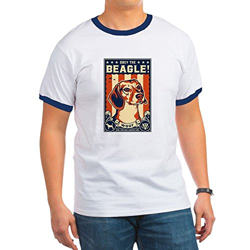 CafePress - Beagle2_T T-Shirt - Ringer T-Shirt, 100% Cotton Ringed T-Shirt, Vintage (Beagle Pets Ringer)