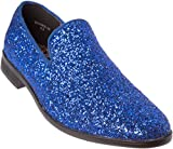 Alberto Fellini Mens Loafer-Fashion Slip-On Sparkling-Glitter Royal Blue Dress-Shoes Size 10.5