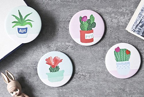 YChoice Cute Baby Toy Mini Round Cartoon Green Plant Pattern Small Glass Mirrors Circles for Crafts Decoration Cosmetic Accessory by YChoice