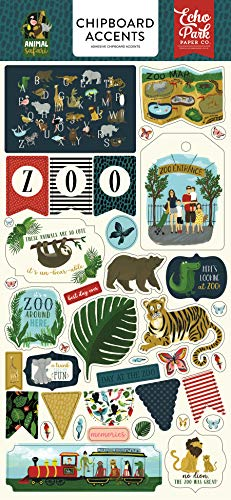 Echo Park Paper Company ZOO167021 Animal Safari 6x13 Accents chipboard Green, Navy, Blue, Yellow, red, Pink ()