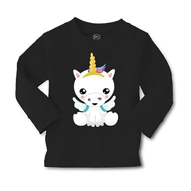 030624ec1 Baby Unicorn Long Sleeve Crewneck Toddler Boys-Girls Cotton T-Shirt Tee -  Black