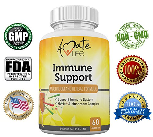 Immune Support Multivitamin for Women & Men - Mushroom Supplement - Antioxidant Supplement for Immune Defense System - Immunity Booster with Vitamin C, Vitamin E & 20 Active Ingredients – 60 Capsules
