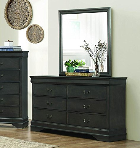 Mayville 6 Drawer Dresser & Mirror in Stained Grey - Dresser Only by Homelegance
