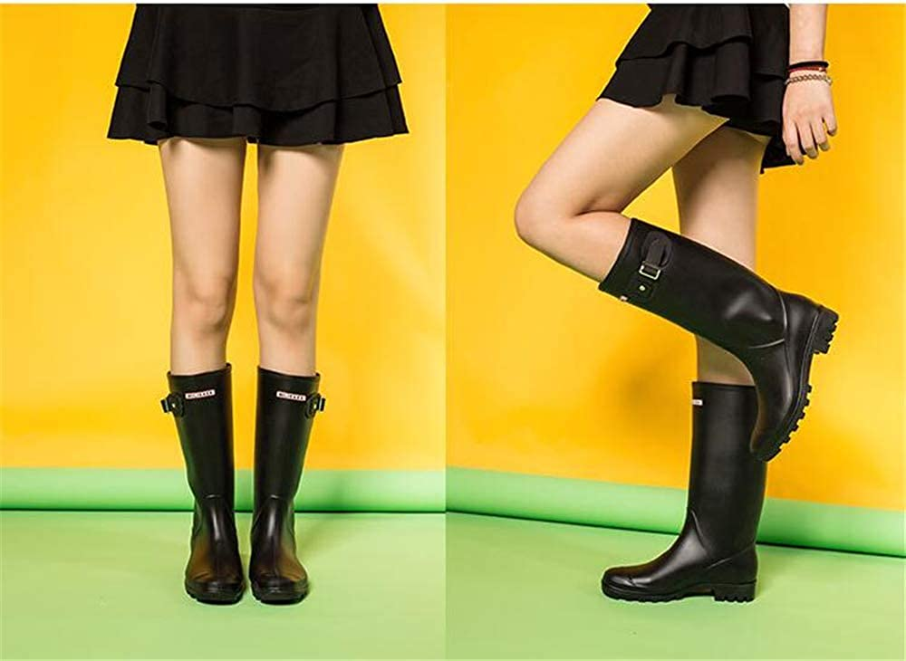Women Rubber Mid Calf Wellies Color Dots Rainboots Knee high Boots