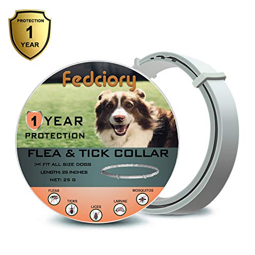 (Flea and Tick Prevention Collar for Dogs 1 Year Protection Control Safe & Hypoallergenic & Waterproof & Adjustable Size 25 Inches Fits Most Dog)