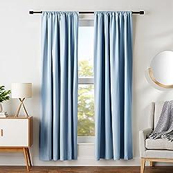 "AmazonBasics Blackout Curtain Set - 52"" x 84"", Smoke Blue"