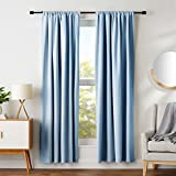 AmazonBasics Room Darkening Blackout Curtain Set with Tie Backs - 52' x 84', Smoke Blue