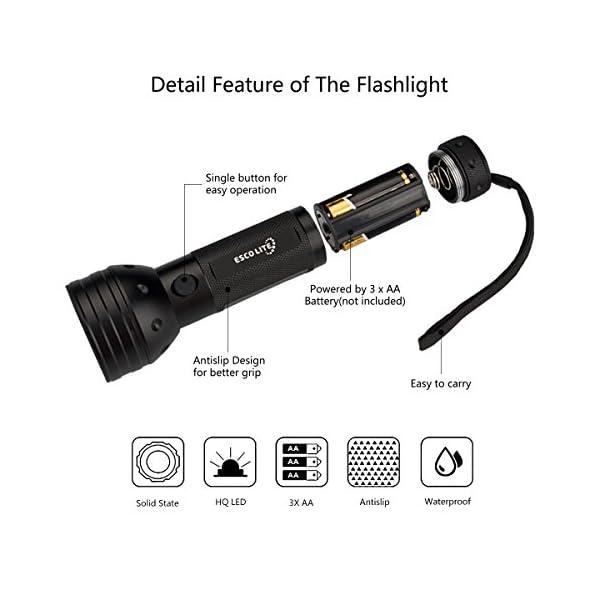 Escolite UV Flashlight Black Light, 51 LED 395 nM Ultraviolet Blacklight Detector for Dog Urine, Pet Stains and Bed Bug 3