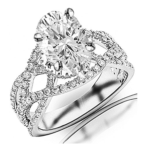 2.25 Ctw 14K White Gold Eternity Love Twisting Split Shank Pave-set Round Ring w/ Pear 1.5 Carat Forever One Moissanite Center