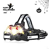 Camping Headlamp, Halloween Gift, Brightest High 10000 Lumen LED Work Headlight, Rechargeable Waterproof Flashlight with 5 Modes Zoomable Work Light, Head Lights for Camping, Hiking, Outdoors