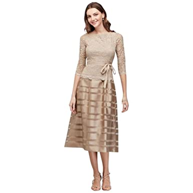 Davids Bridal Striped Jacquard And Metallic Lace Mother Of Bride Groom Dress Style 11210041 At Amazon Womens Clothing Store