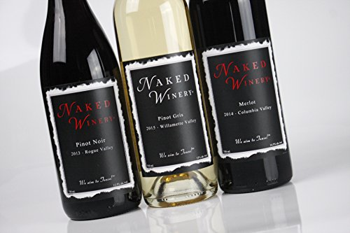Oregon Wine Perfect Threesome Bundle Mixed Pack, 3 x 750 mL, by Naked Winery (Wine Birthday Gift Baskets)