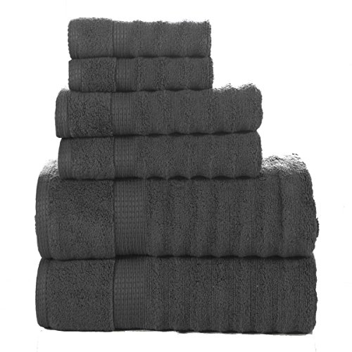Affinity Home Collection 6 Piece Quick Dry Elegance Spa Zero Twist Cotton Ribbed Towel Set, (Elegance Collection)