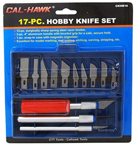 Cal Hawk Tools CKHB16 17Piece Hobby Knife Set