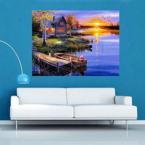Bazaar 5D Diamond Painting DIY Lake/&House Landscape Cross Stitch Home Decor