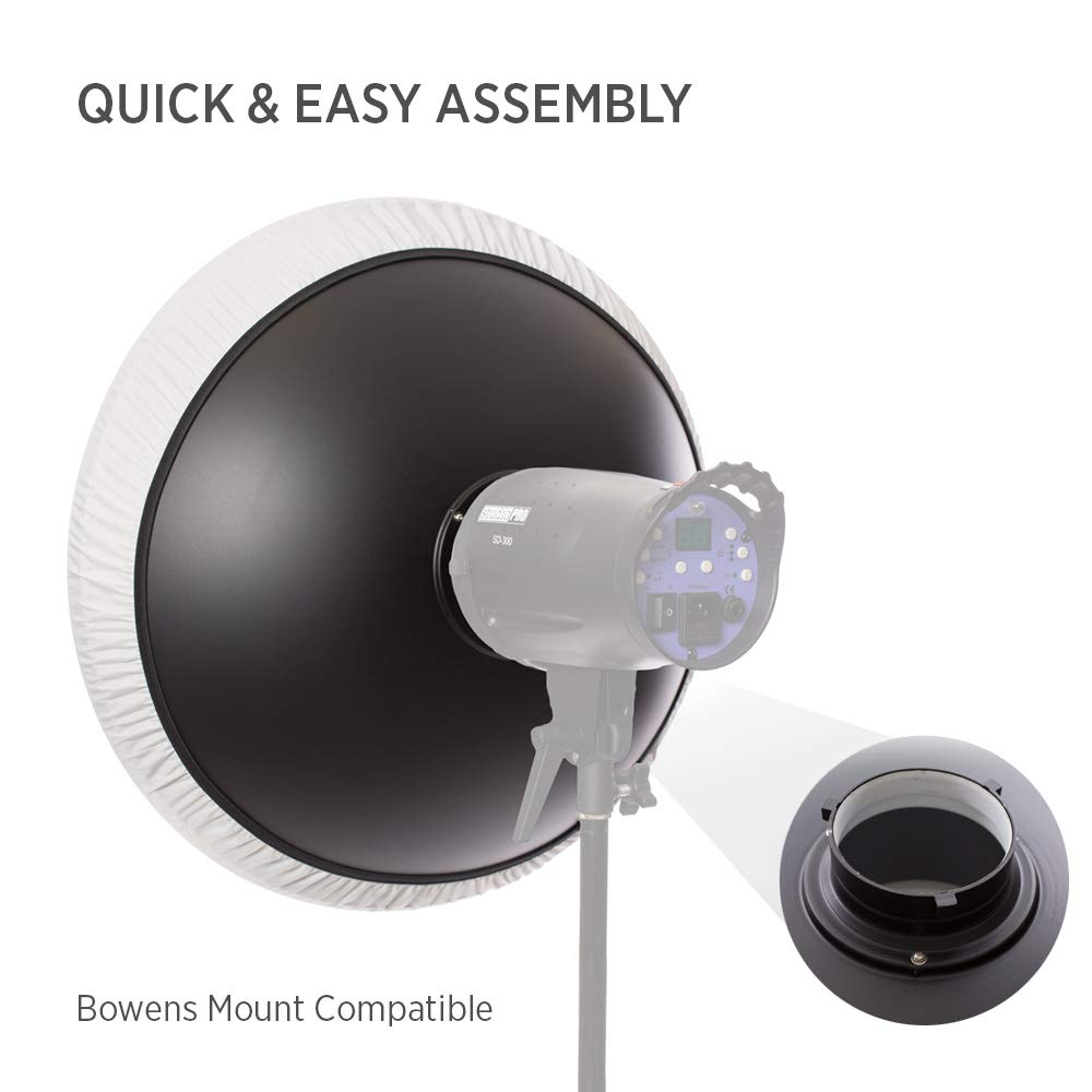Strobe /& Monolight Compatible Fovitec Aluminum White Lightweight 1x 22 inch Bowens Mount Photography Beauty Dish - Grid Not Included