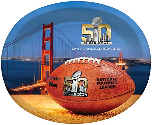 Creative Converting Super Bowl 50 8 Count Oval Platters, 10 x 12