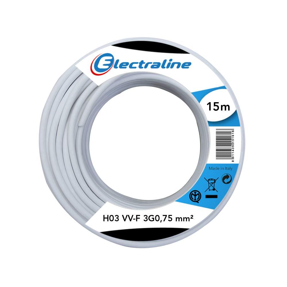 Electraline 60107046J Couronne de C/âble H03 VV-F 3G0,75 15M Blanc