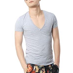Zbrandy Men's V Neck T Shirts Tight Tee Stepped Hem