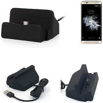 KS-Trade Dock USB para el ZTE Axon 7 Mini, Negro | estación de Carga Base Cargador de Escritorio Estacion Compacto y Discreto. Type C Docking Station