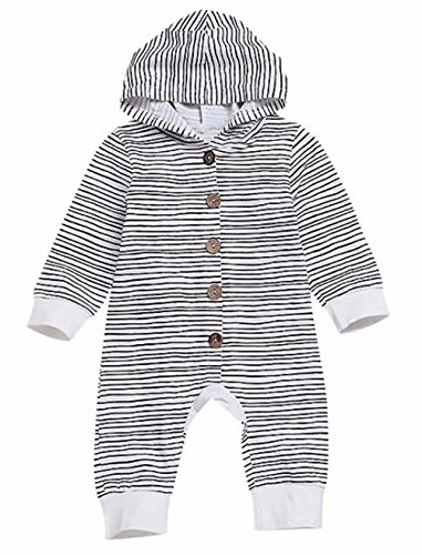 EGELEXY Baby Boys Girls Cotton Long Sleeve Striped Outfit Romper Kids Hooded Onsie Robe Size 3-6 Months/Tag70 (Black)