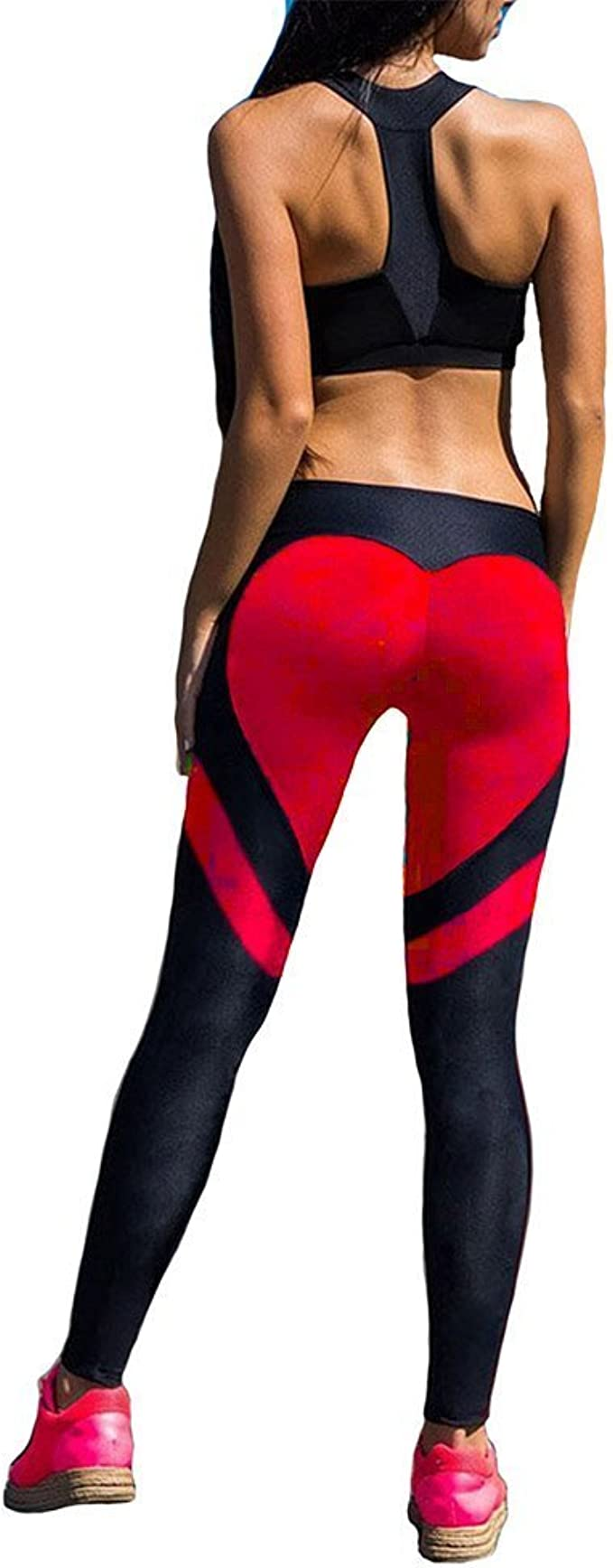 Fittoo Womens Heart Shape Yoga Pants Sport Pants Workout Leggings Sexy High Waist Trousers