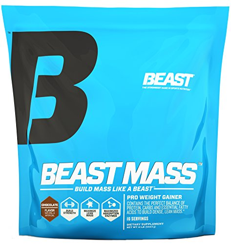 Beast Sports Nutrition Beast Mass - Build Lean Muscle Mass with This High Quality Weight Gainer. Contains 1340 Calories Per Serving with 55 Gms Protein. Very Low Fat and Sugar. 12 Pounds, Chocolate by Beast Sports Nutrition