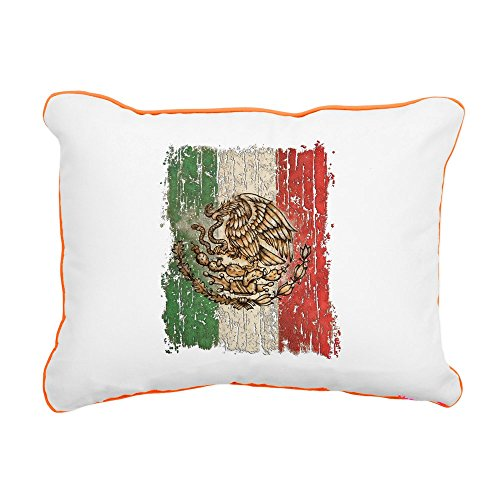 Rectangular Canvas Throw Pillow Orange Mexican Flag Mexico Grunge by Royal Lion