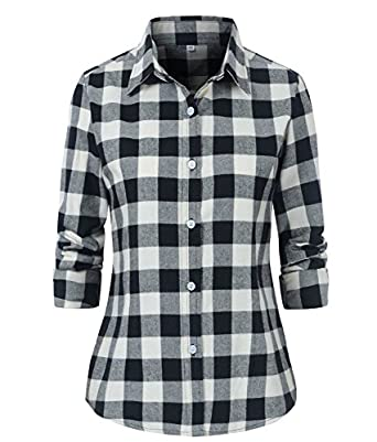 Benibos women 39 s check flannel plaid shirt at amazon women for White and black flannel shirt womens