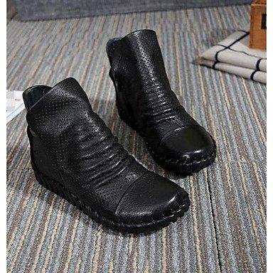 La mujer Confort Botas de cuero cuero Nappa Primavera confort informal Borgoña caqui plana negra Khaki