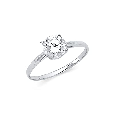 One Stone Cz Engagement Ring 14k Yellow Or White Gold Anniversary