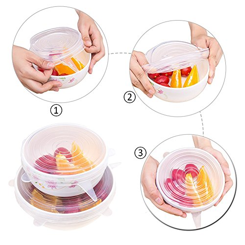 Silicone Lids,12 Packs Seal Food Stretch Wrap Reusable Cover Lids,Heat Resistant,Fit Various Sizes and Shapes of Containers,Microwave and Dishwasher Safe by WOOPOWER (Image #2)