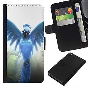 YiPhone /// Tirón de la caja Cartera de cuero con ranuras para tarjetas - Pájaro del ángel - HTC DESIRE 816
