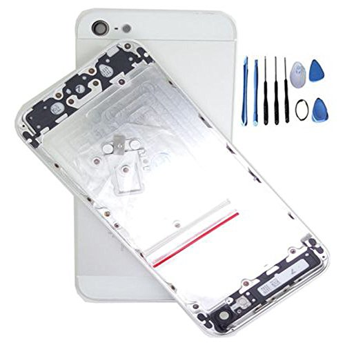 Joan Metal Replacement Back Housing Battery Door Cover Case for iPhone 5s +Tools (Silvier)