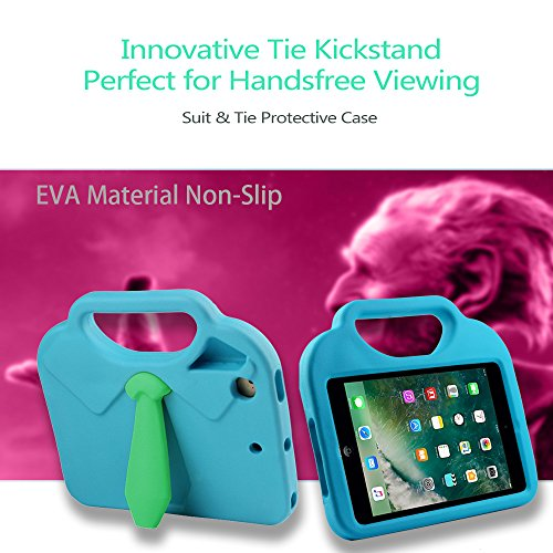 TabPow Suit & Tie iPad Mini Case - [Shockproof][Drop Protection][Heavy Duty] Cute Kids Children EVA Case Cover with Carrying Handle and Stand For iPad Mini and iPad Mini 2 with Retina, Turquoise Blue Photo #6