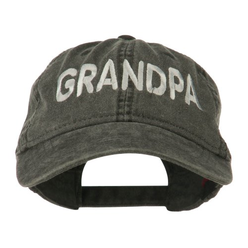 Cap Screen Print Embroidered - Wording of Grandpa Embroidered Washed Cap - Black OSFM