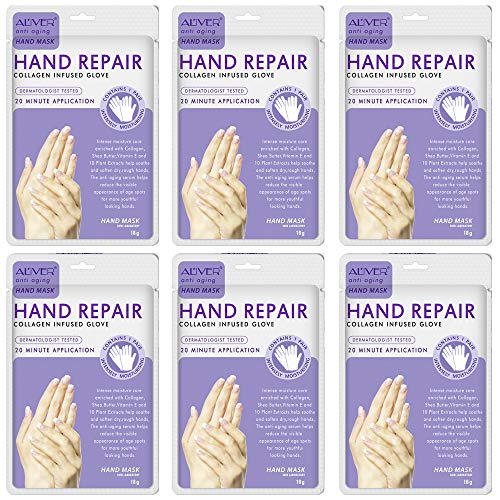 6Pairs Hand Mask, Moisturizing Gloves, Hand Mask for Dry Skin, Spa Hand Mask Gentle Soothe and Anti Aging, Nourish Hand…
