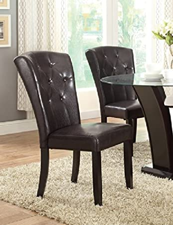 Poundex Dark Brown Faux Leather Dining Chairs With Wide Back Support, Set  Of 2