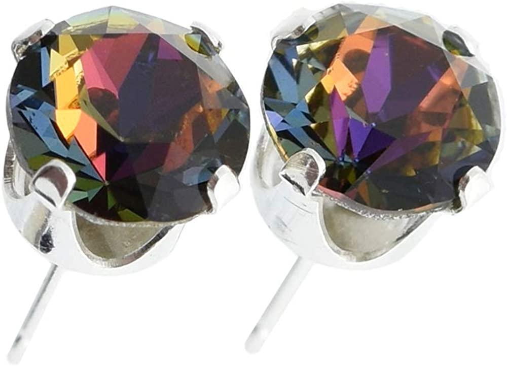 925 Sterling-silver stud earrings made with sparkling Volcano crystal from Swarovski. London gift box.