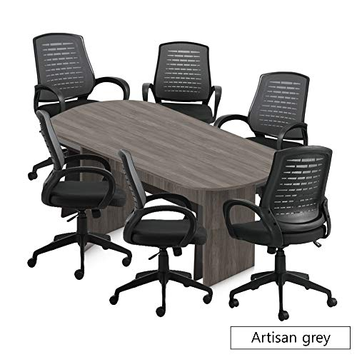 - GOF 6FT, 8FT, 10FT Conference Table Chair (10902B) Set, Cherry, Espresso, Mahogany, Walnut (8ft with 6 Chairs, Artisan Grey)