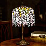 Desk Lamps - Tiffany Style Glass Lampshade - 10 Inch Creative Wisteria Art Deco Glass Desk Lamp - Romantic Warm Bedroom Bedside Lamp - Living Room Table Light