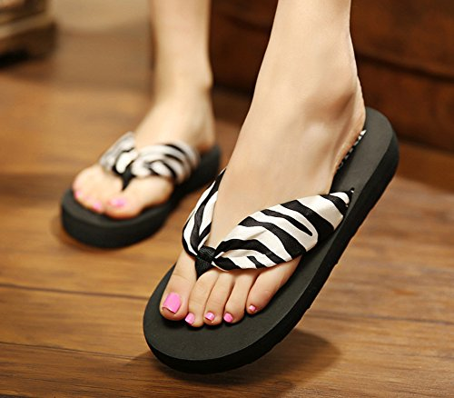 2 Flip Black Slippers Sfnld Fashion Flop Boho Women's Beach Platform Heel Wegde Sandals Thong 7aOtf