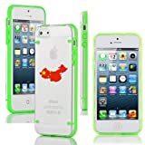 Apple iPhone 4 4s Ultra Thin Transparent Clear Hard TPU Case Cover China Chinese Flag (Green)