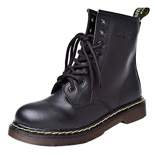 Stiefel 8 Frauen Schuhe Stiefel oese Mode Baumwolle Mens Laced Schwarz Martin Flache fuer Leder Schuhe YxqBP