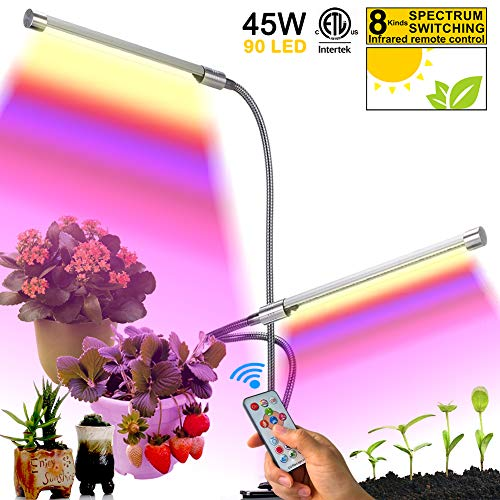 LED Grow Light for Indoor Plant,90LEDs 45W Full Spectrum Dimming Auto On/Off Growing Lamp,IR Remote Control Grow Lights with Timer Mode, Gooseneck Dual Head Multi Spectrum for Seeds Fruits Plants