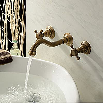 HiendureTM Two Handle Wall Mount Antique Inspired Solid Brass Bathroom Sink Faucet Lavatory Vanity Bathtub Mixer Taps Long Curve Spout Vessel Sink Bath Shower Plumbing Fixtures Cheap Discount Shower Set Faucets Roman Tub Bar Faucets