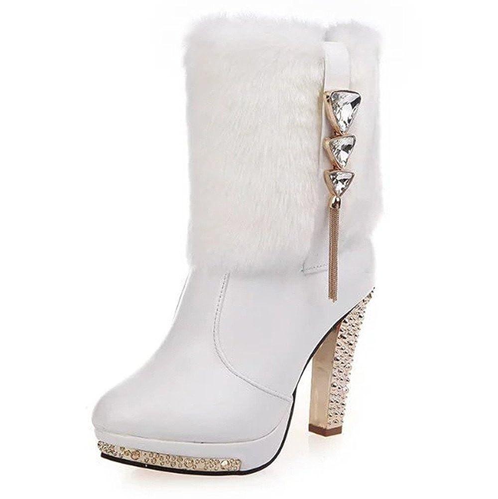 Qiangsoo Womens Faux Fur Winter Boots Elegant Rhinestone Mid Calf Boots