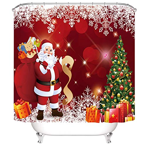 (Christmas Bath Curtain Set, Red Santa Claus and Christmas Tree with ornaments surounding Presents Printing,Christmas Decoration Shower curtain ,Xmas Bathroom Accessories,72 x 72 inch (Red Santa Claus))