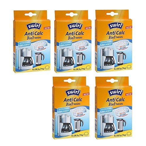 Swirl Anti Calc Tablettes pour détartrage des machines à café et de cuisson/Eau Chaude Appareils, 3en 1tablettes, Lot de 5, jamais 4x 18,5g