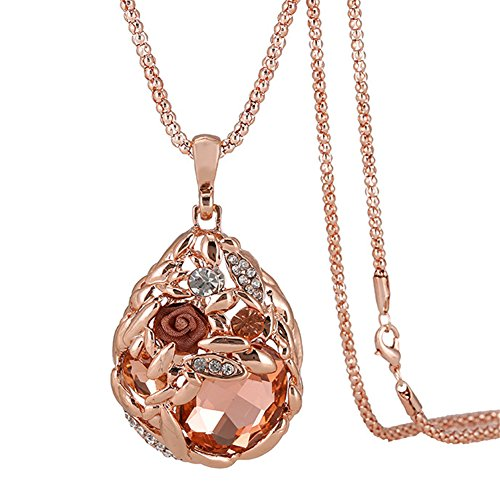 Hen-Night Austrian Crystal Rose Gold Wheat Shape Pendant Necklace.The Treasure In - Heart Gold Circle Necklace Pendant